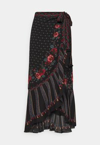 Farm Rio - EMBROIDERED FLORAL WRAP SKIRT - Pencil skirt - black - 4