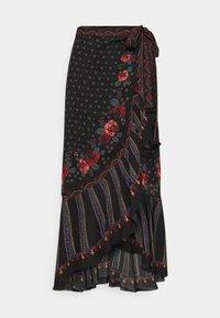 EMBROIDERED FLORAL WRAP SKIRT - Pouzdrová sukně - black