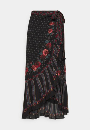 EMBROIDERED FLORAL WRAP SKIRT - Pencil skirt - black
