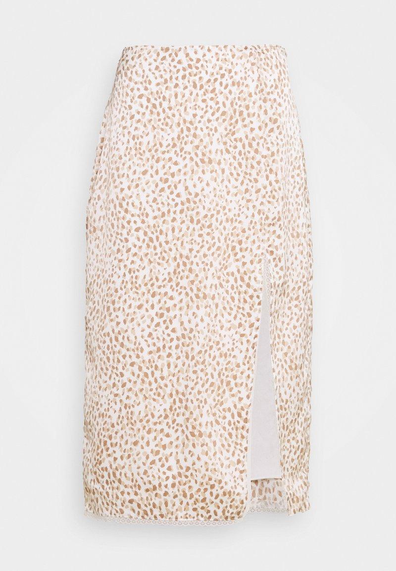 Abercrombie & Fitch - WEBEX TRIM MIDI - A-line skirt - white/brown