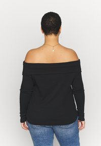 Simply Be - FOLD OVER BARDOT - Long sleeved top - black - 2