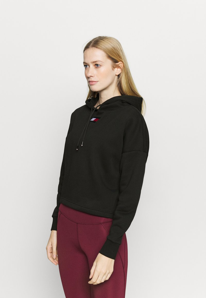 Tommy Hilfiger - CROPPED HOODY FLAG LOGO - Sweat à capuche - black