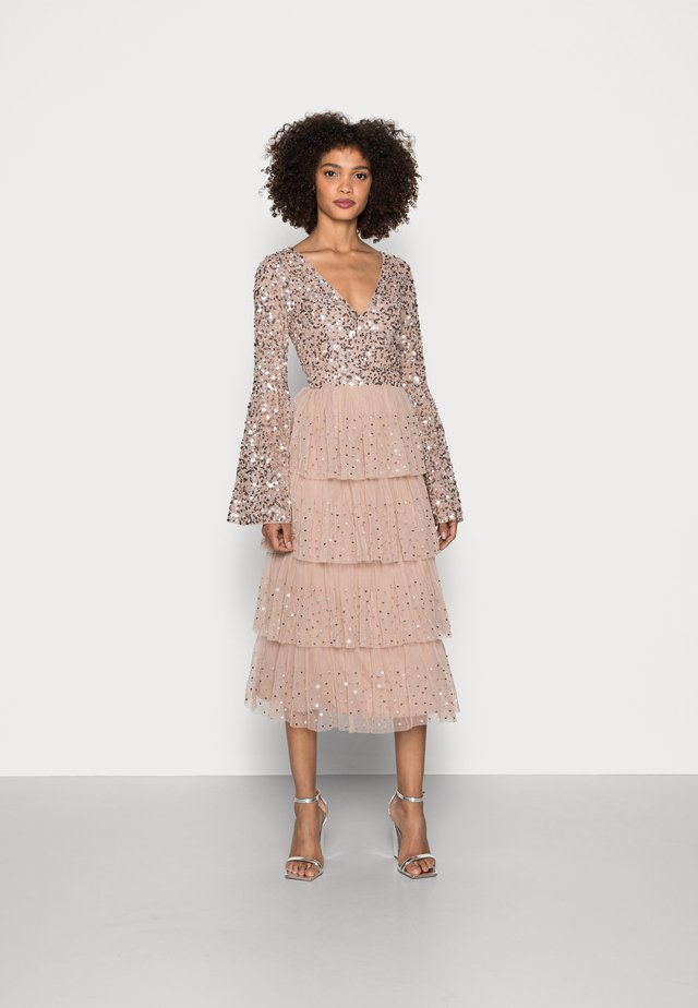 BELL SLEEVE TIERED EMBELLISHED MIDI - Cocktail dress / Party dress - taupe blush