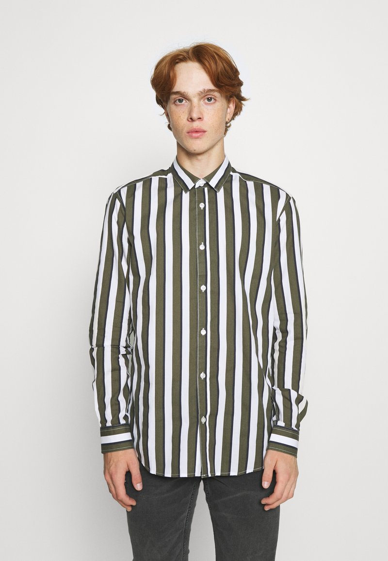 Only & Sons - ONSSANE STRIPED SLIM FIT - Shirt - olive night