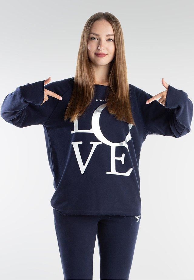 SWEAT CUT LOVE - Longsleeve - navy