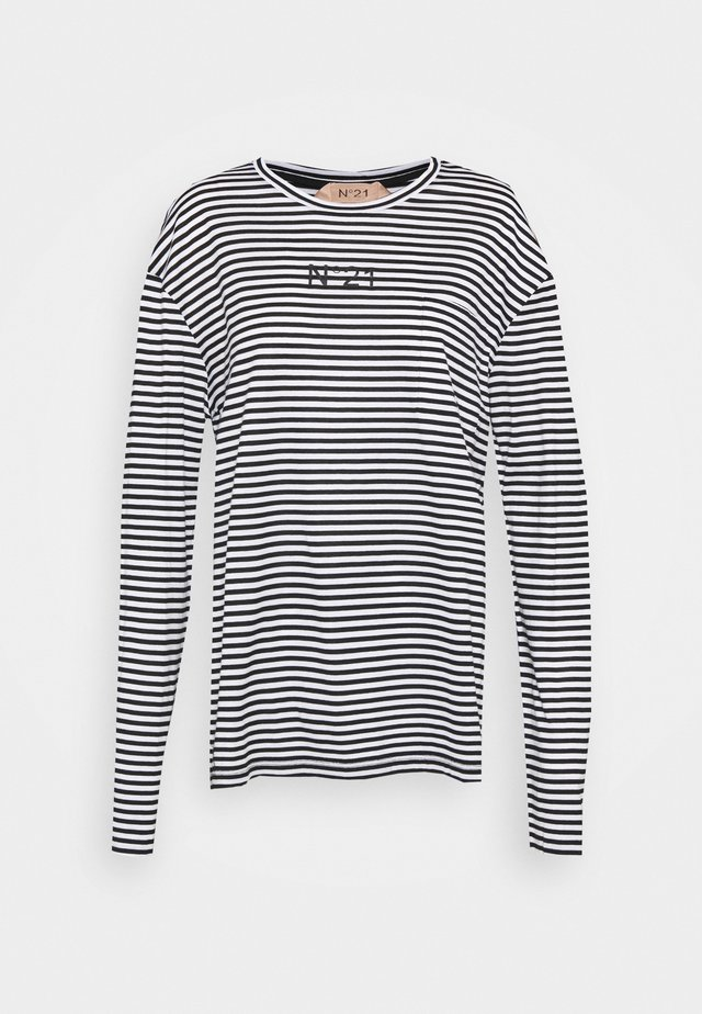 STRIPED LOGO - Long sleeved top - black