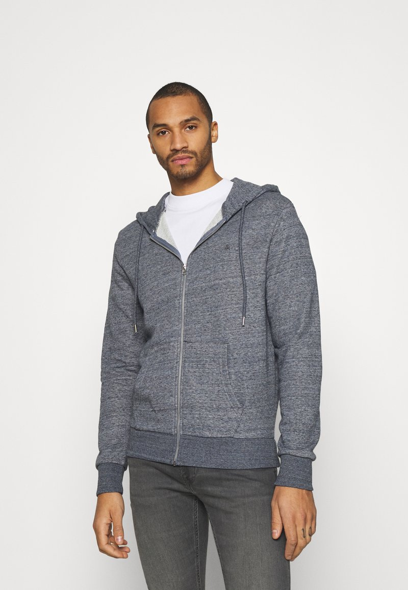 Jack & Jones - JJEBASIC ZIP HOOD - Zip-up hoodie - maritime blue melange