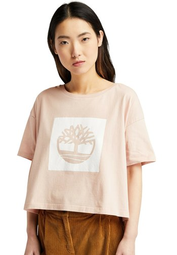 CROPPED LOGO TEE - Print T-shirt - cameo rose