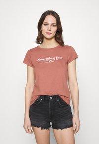 Abercrombie & Fitch - LOGO TEE - Print T-shirt - dark pink - 0