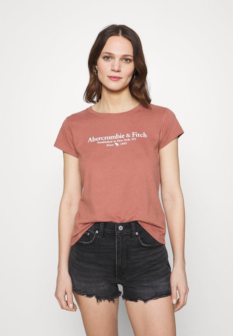 Abercrombie & Fitch - LOGO TEE - Print T-shirt - dark pink