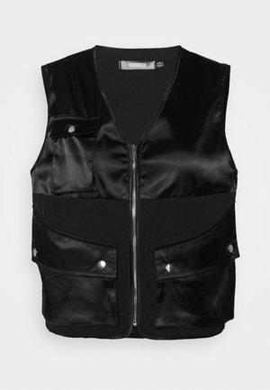 ZIP THRU POCKET DETAIL WAIST COAT - Waistcoat - black