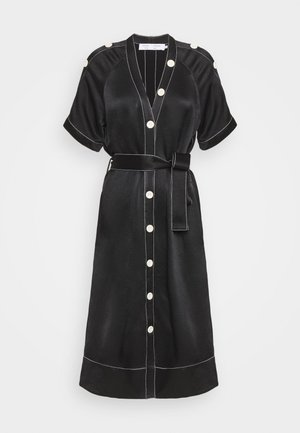 BELTED DOBBY CONVERTIBLE DRESS - Košilové šaty - black