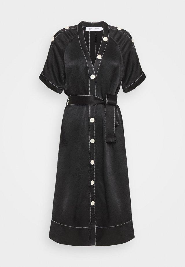 BELTED DOBBY CONVERTIBLE DRESS - Shirt dress - black