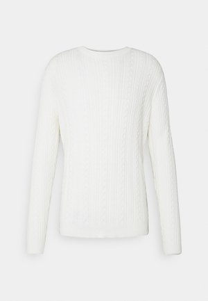 ONSRIGE THIN CABLE CREW NECK - Stickad tröja - star white