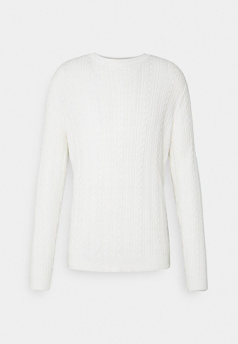 Only & Sons - ONSRIGE THIN CABLE CREW NECK - Pullover - star white