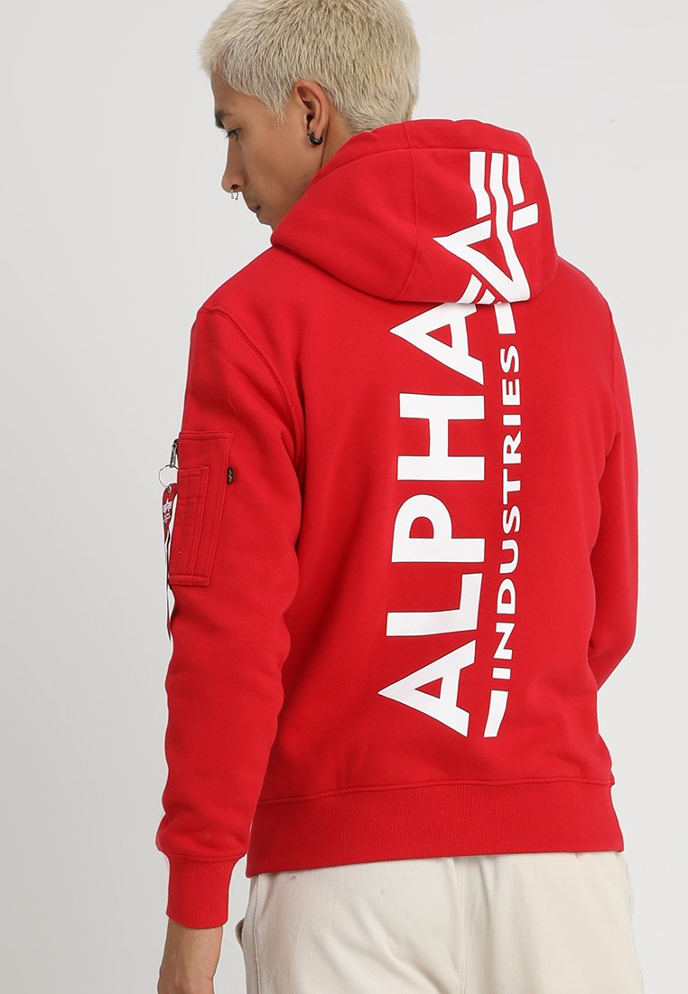 Alpha Industries - BACK PRINT HOODY - Sweat à capuche - speed red