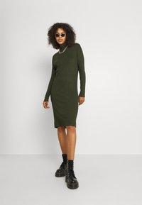 G-Star - MOCK SLIM DRESS - Gebreide jurk - dark bronze green - 1
