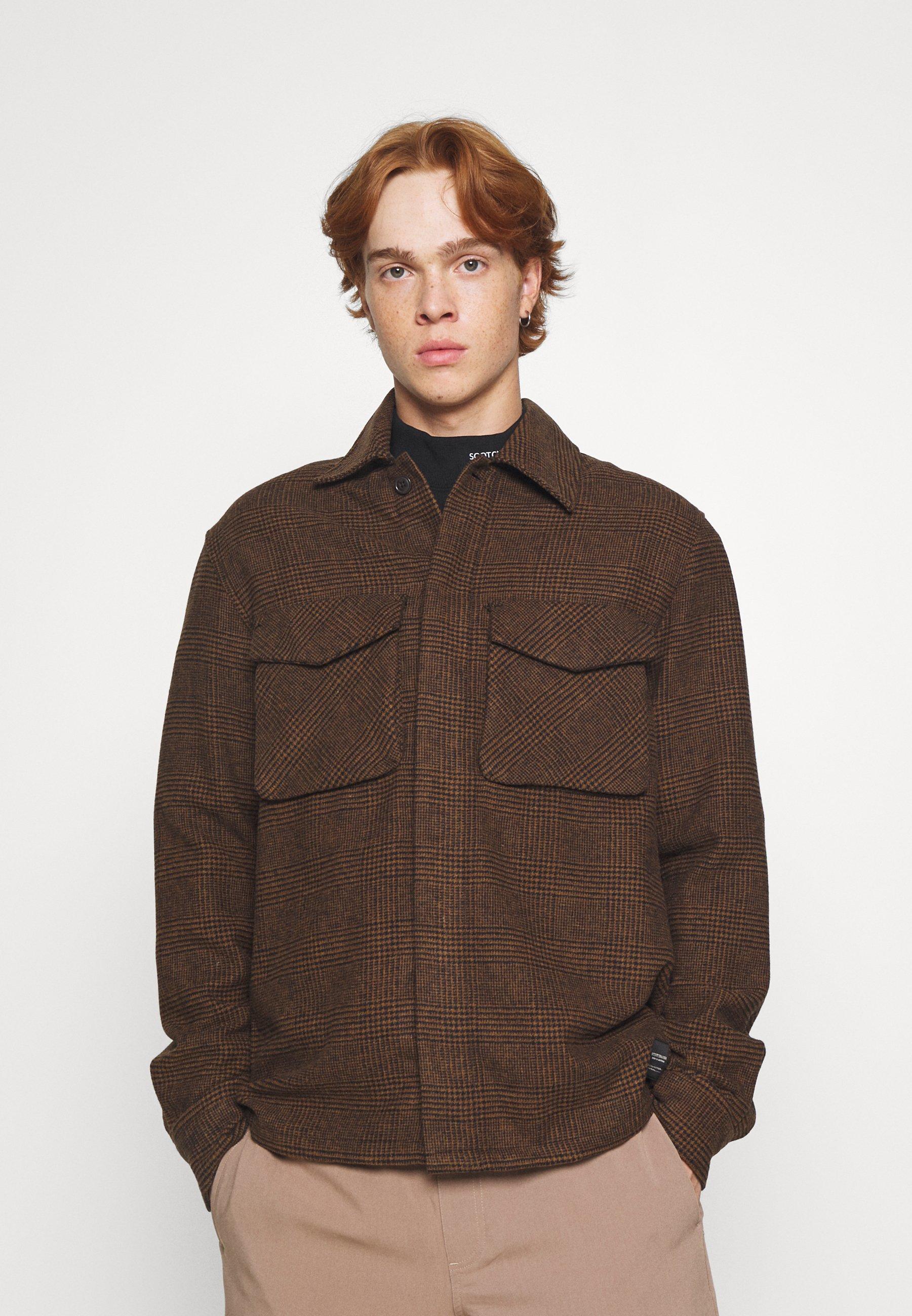 Men RELAXED OVERSHIRT - Summer jacket - dark brown