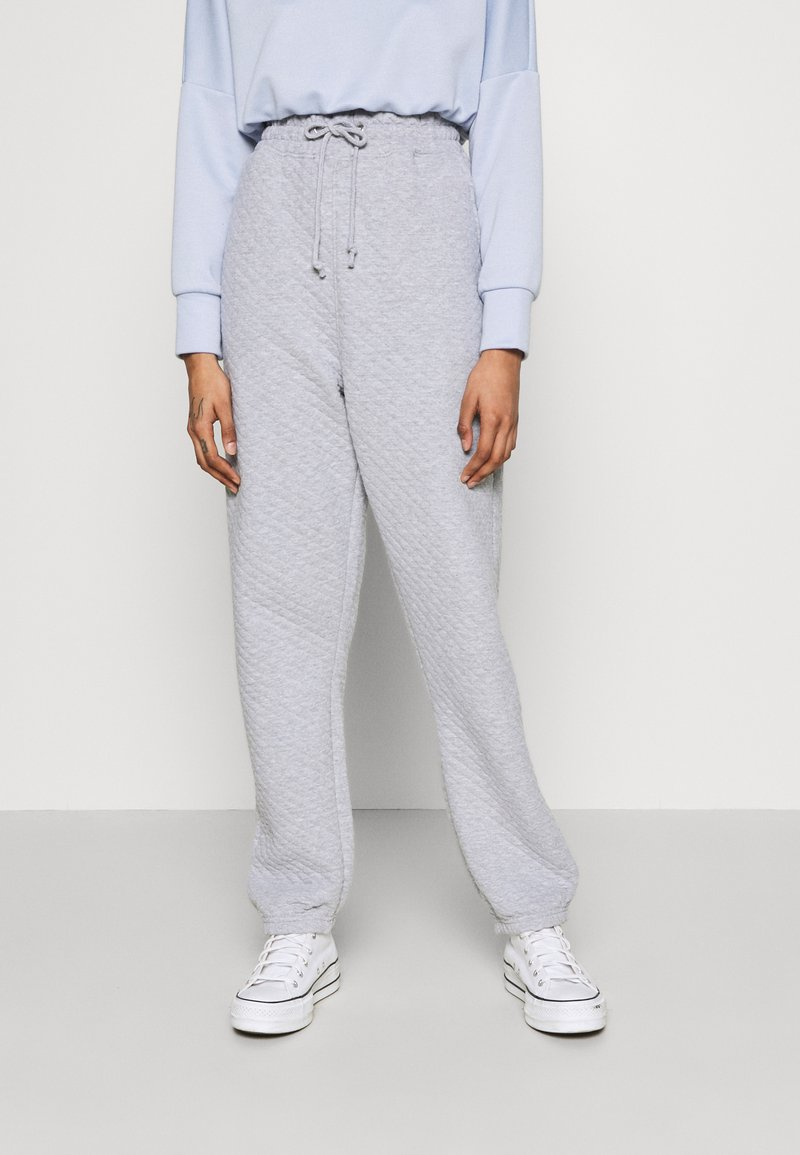 Missguided - QUILTED - Tracksuit bottoms - grey