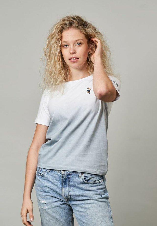 T-shirt imprimé - grau/weiß