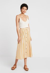 NORR - AMIRA SKIRT - Maxi skirt - golden brown/white - 1