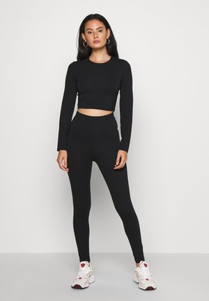 SET - LONG SLEEVE TOP AND LEGGING - Legíny - black