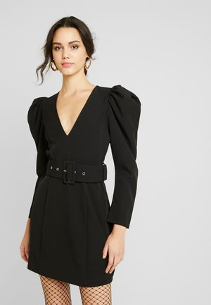 BELTED PUFF DRESS - Robe de soirée - black
