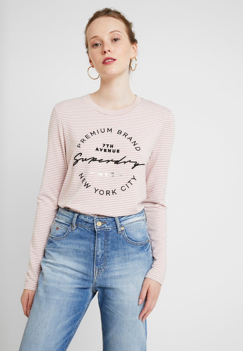 Superdry - DUNNE STRIPE GRAPHIC - Long sleeved top - pink