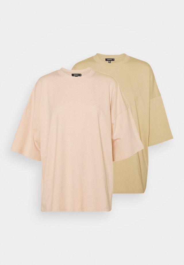 DROP SHOULDER OVERSIZED 2 PACK - Basic T-shirt - pastel pink/khaki