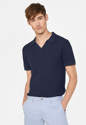 WE FASHION HEREN POLOSHIRT VAN LINNENMIX - Polo shirt - dark blue