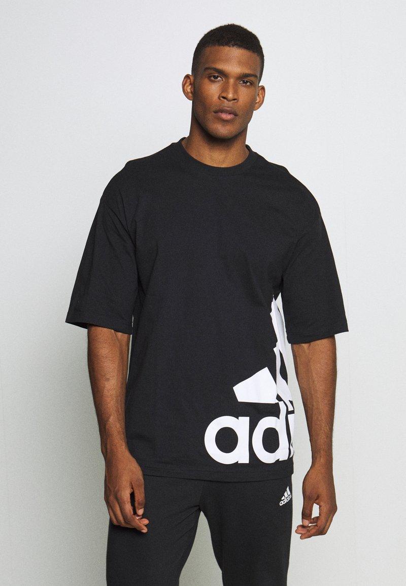 adidas Performance - BOXBOS TEE - Print T-shirt - black/white