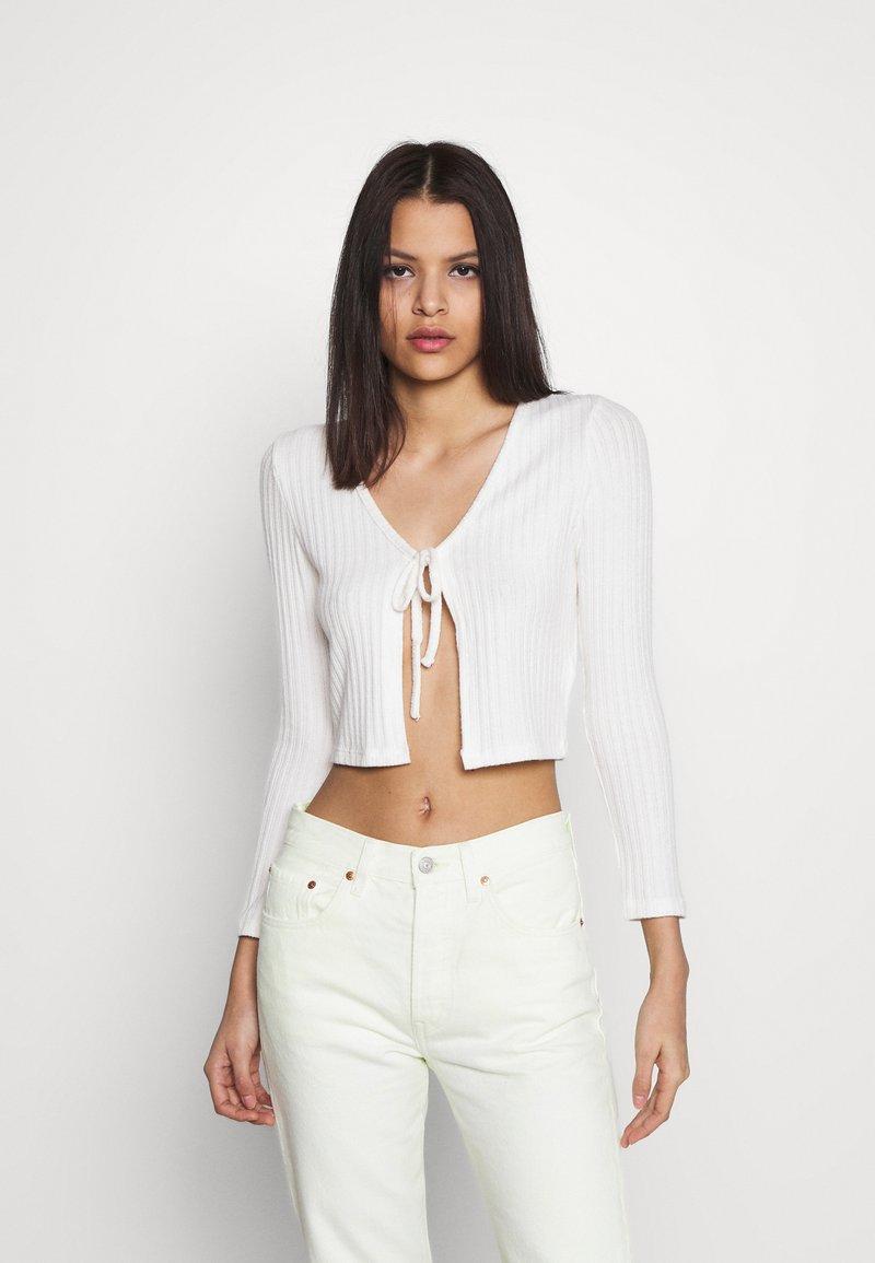 Topshop - COSY BRUSHED RIB  - Langærmede T-shirts - winter white