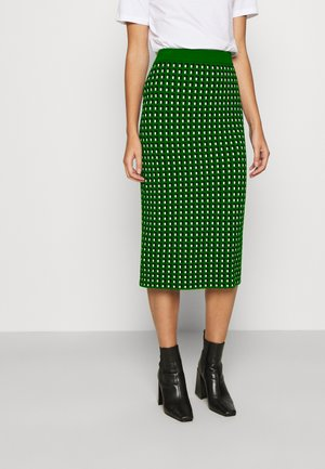 PENCIL GEO PRINT - Gonna a tubino - green