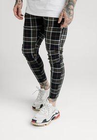SIKSILK - PLAID CHECK SKINNY  - Trousers - navy/yellow/white - 0
