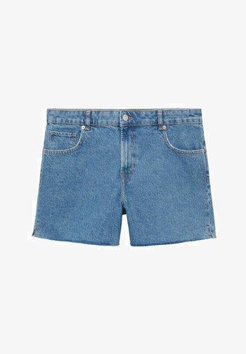 MIT AUSGEFRANSTEM SAUM - Denim shorts - mittelblau