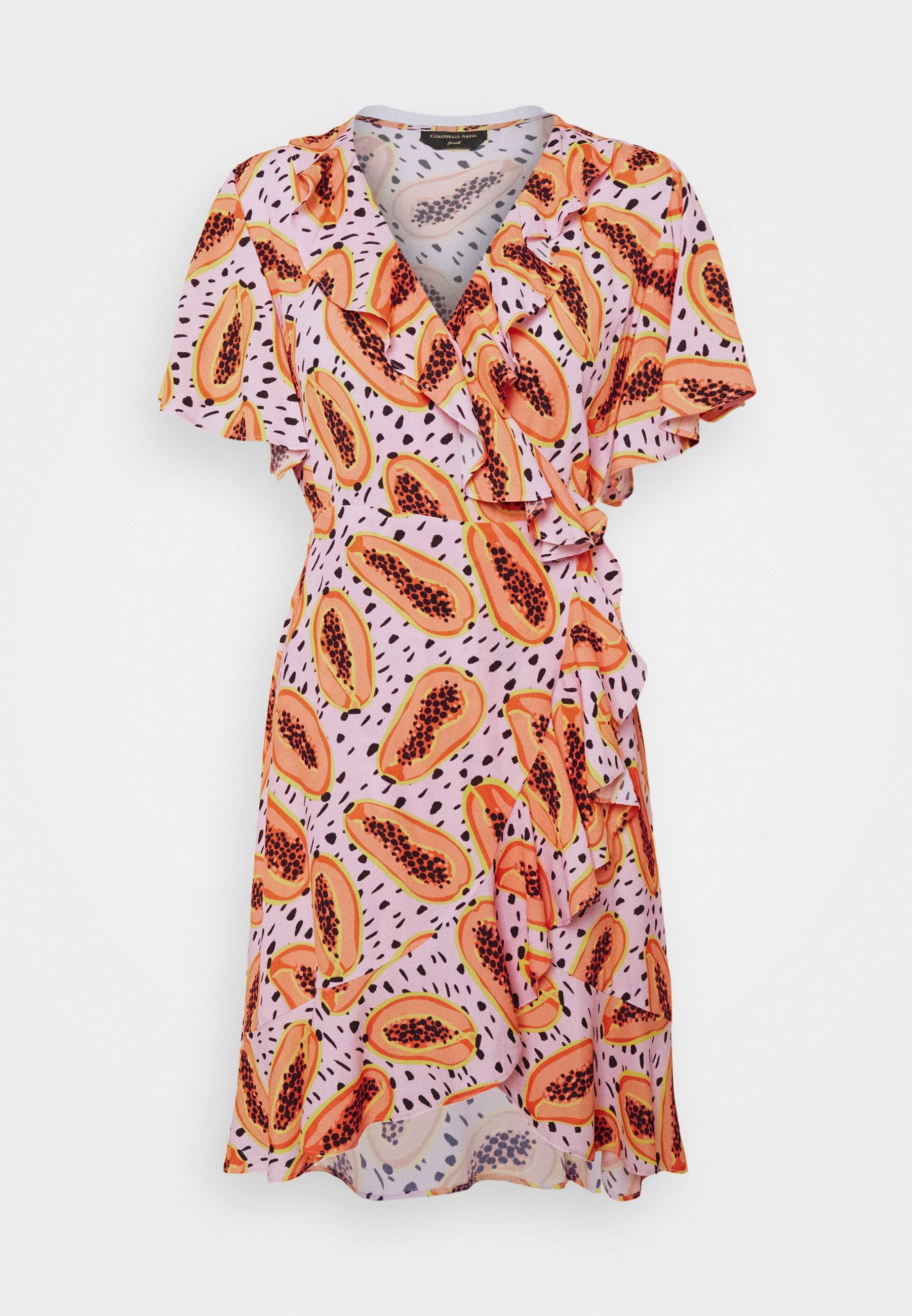 Women TELSI PAPAYA SHORT SLEEVE REAL WRAP DRESS - Day dress