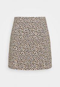 Topshop Petite - MINI LEOPARD BENGALINE - Mini skirt - brown - 0