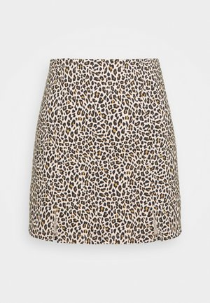 MINI LEOPARD BENGALINE - Mini skirt - brown