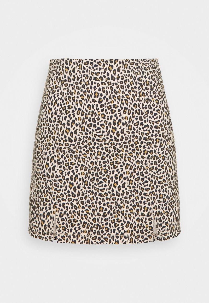 Topshop Petite - MINI LEOPARD BENGALINE - Mini skirt - brown