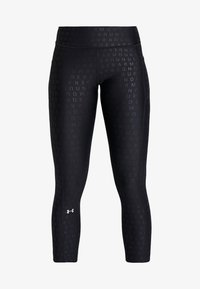 Under Armour - PRINTED ANKLE CROP - Collants - black/white/metallic silver - 4