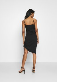 NA-KD - DRAPED HIGH SLIT MIDI DRESS - Cocktail dress / Party dress - black - 2