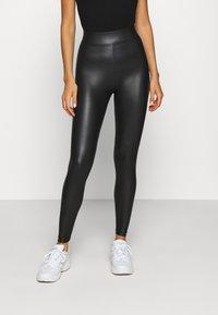 Topshop - WET LOOK - Leggings - Trousers - black - 0