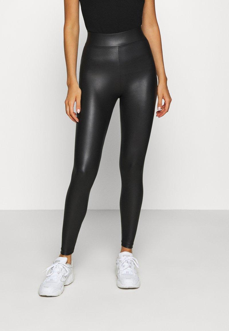 Topshop - WET LOOK - Leggings - Trousers - black
