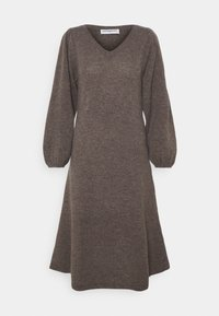 pure cashmere - LINE LONG DRESS - Abito in maglia - heather brown - 0