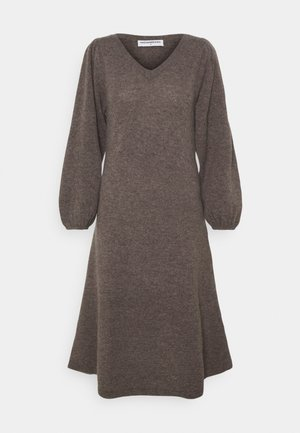 LINE LONG DRESS - Jumper dress - heather brown