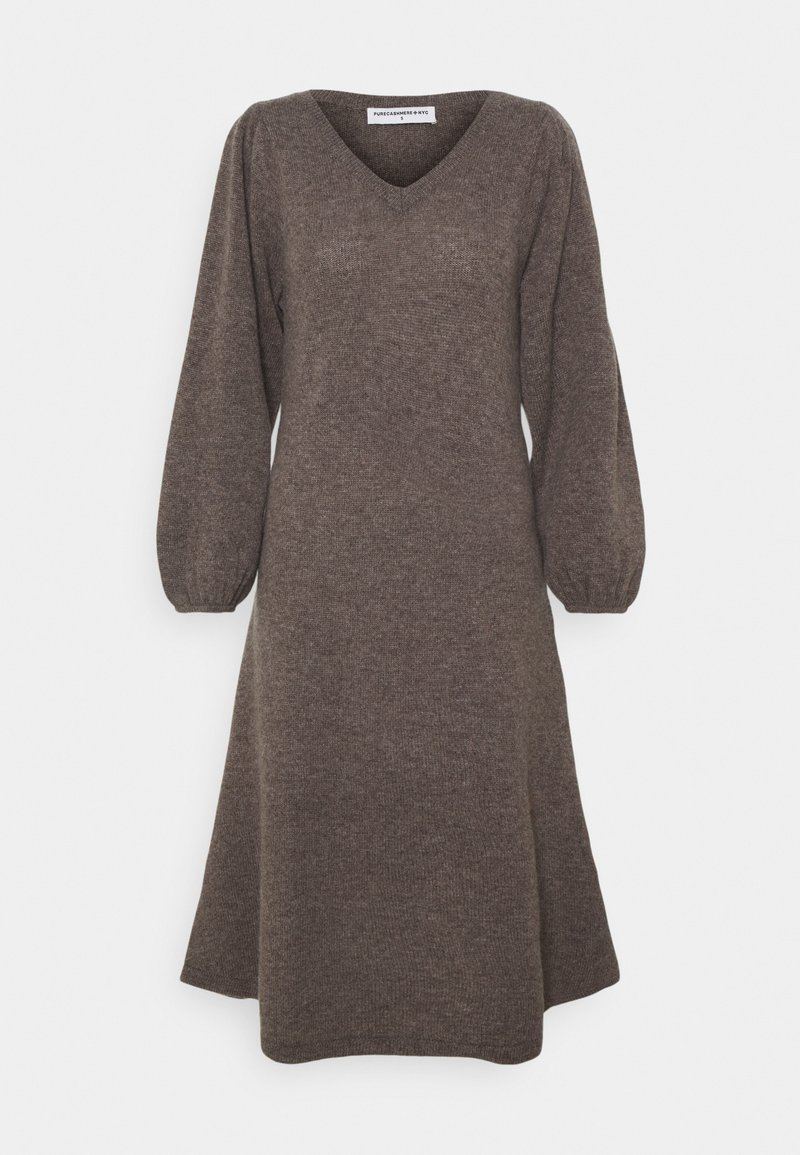 pure cashmere - LINE LONG DRESS - Abito in maglia - heather brown