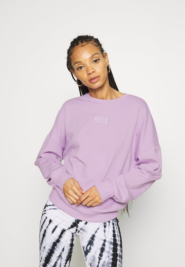 OVERSIZED PRINTED CREW NECK SWEATSHIRT - Sweater - lilac