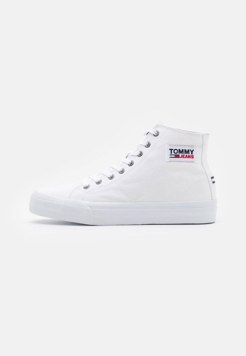 Tommy Jeans - MID CUT LONG LACE UP - High-top trainers - white