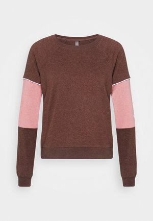 ONPOLAY  - Sweatshirt - fudge melange/mesa rose/white