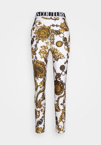Leggings - Trousers - white/gold
